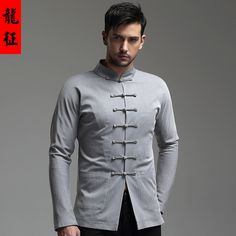 Impressive Well-made Frog Button Chinese Jacket - Gray - Chinese Jackets & Coats - Men Tailored Fashion, Suit Fashion, Indian Men Fashion, Chinese Fashion, Indian Groom Wear, Mens Kurta Designs, Mens Designer Shirts, Wedding Dress Men, Man Dressing Style