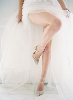 Hand beaded florence wedding heel with cross ankle straps by Bella Belle   Photographer: Kurt Boomer