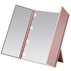 Miss Sweet Led Lighted Tri-Fold Makeup Mirror Travel Mirror Compact Pocket Mirror Compact Mirror for Cosmetic Makeup (Gold Rose). For product & price info go to:  https://beautyworld.today/products/miss-sweet-led-lighted-tri-fold-makeup-mirror-travel-mirror-compact-pocket-mirror-compact-mirror-for-cosmetic-makeup-gold-rose/