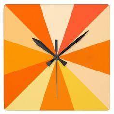 Pop Art Modern 60s Funky Geometric Rays in Orange Square Wallclock