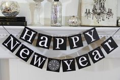 Happy New Years Decorations - New Years Banner - New Year Garland Party Decorations. $22.00, via Etsy.