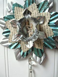 Tart Tin ornament upcycled vintage handmade altered art Folk art Blue Madonna and Child Star Snowflake Flower. $20.00, via Etsy.