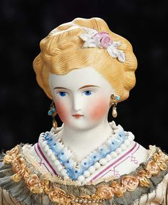 The Lifelong Collection of Berta Leon Hackney: 150 German Bisque Lady Doll with Fancily Sculpted Hair and Bodice