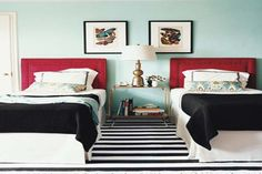 twin boy bedroom ideas striped floor