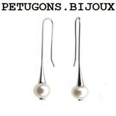 Boucles D'oreilles Dormeuse Pendantes, Perle Eau Douce Naturelle Blanche, Argent 925°°°,Poinçonné Et Garanti.
