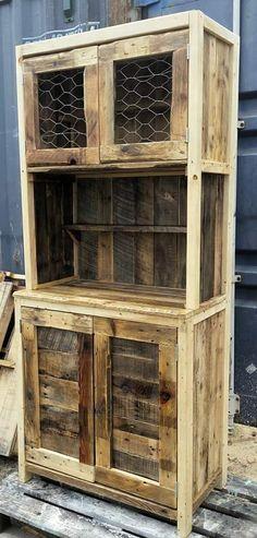 Wire-door Rustic Pallet Hutch Pallet Cabinets & Pallet Wardrobes
