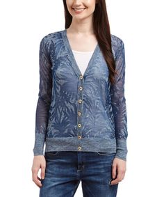 Love this Smoked Sapphire Burnout Palm Paradise Linen-Blend Cardigan on #zulily! #zulilyfinds
