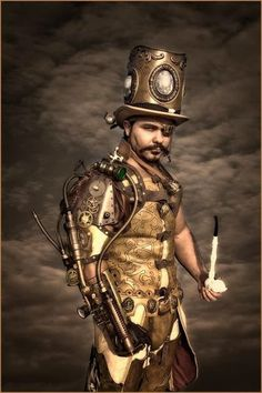Steampunk Villain Cosplay - top hat, mechanical arm, pipe,