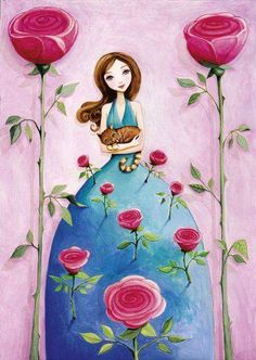 A new favorite artist of mine, Mila Marquis by MarquisWonderland on Etsy, her work is so colorful and whimisical, I just LOVE everything about her work Art And Illustration, Illustrations, Decoupage, Art Fantaisiste, Art Mignon, Whimsical Art, Cat Art, Folk Art, Fantasy Art