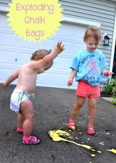 messy play exploding chalk bags  - Play Learn Love