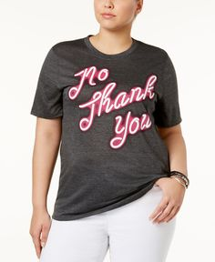 Mighty Fine Trendy Plus Size Cotton No Thank You Graphic T-Shirt