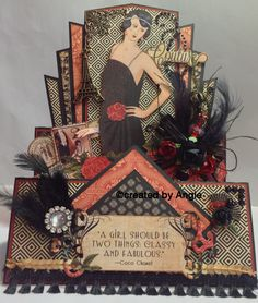 Graphic 45 Couture collection. Art Deco Birthday card. Created by Angie Shepherd.