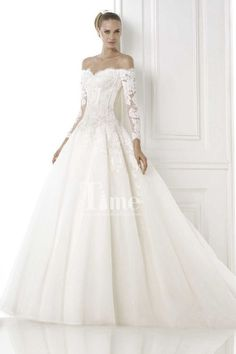 Ball Gown Off the shoulder Long Sleeves Wedding Dresses with Buttons WD149916