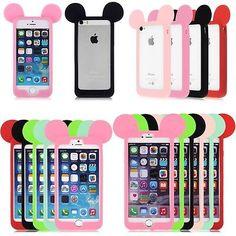 Coque Etui Housse Bumper Silicone Case Mickey Mouse Oreille iPhone 4 5S 6 S Plus