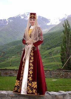 ossetia women traditional  costume dancers north-caucasus people
