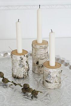birch candleholders