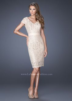 La Femme 19167 Regal Lace V-Neck Knee Length Dress