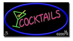 """Cocktails, Logo Neon Sign - 20"""" x 37""""-ANS1500-0408  37"""" Wide x 20"""" Tall x 3"""" Deep  Flashing Border """"ON/OFF"""" switch  Sign is mounted on an unbreakable black or clear Lexan backing  110 volt U.L. listed transformer fits into a standard outlet  Hanging hardware & chain included  6' Power cord with standard transformer  For indoor use only  1 Year Warranty on electrical components  1 Year Warranty on standard transformers."""