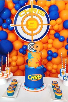 Check out this cool Nerf birthday party! The balloon backdrop is awesome!  See more party ideas and share yours at CatchMyPartyy.com  #catchmyparty #partyideas #nerf #nerfparty #boybirthdayparty