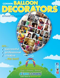 Balloon Decorators that are true to the blue featured in the latest #iamconwin ad in Conwin's latest catalog. Include #iamconwin in your posts for a chance to win the latest prize from Conwin. More info at www.iamconwin.com