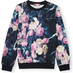 MSGM Floral-print cotton-jersey sweatshirt 4-14 years ($125) ❤ liked on Polyvore featuring tops, hoodies, sweatshirts, multi, blue sweatshirt, floral print sweatshirt, floral sweatshirt, msgm et floral top