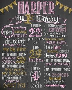 Pink and Gold First Birthday Chalkboard / Girl by LetsGetChalky