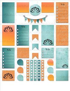 FREE Freebie! Printable Planner Stickers Kit Tangerine Lotus- Instant Digital Download - Finding Wende