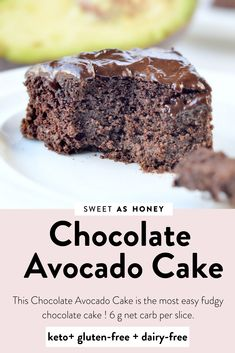 This Chocolate Avocado Cake is the most easy fudgy keto chocolate cake! Plus, this almond meal chocolate cake is sugar-free, keto, gluten free and paleo Chocolate Avocado Cake, Flourless Chocolate Cakes, Healthy Chocolate, Avocado Brownies, Chocolate Desserts, Keto Cake, Vegan Cake, Avocado Dessert, Paleo Dessert