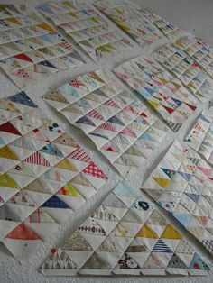 HST blocks before sewn together. Pinwheel Quilt Pattern, Quilt Patterns, Half Square Triangle Quilts, Leftover Fabric, Pinwheels, Fabric Scraps, Quilting Designs, Quilt Blocks, Sewing