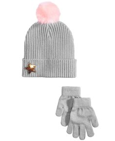 EmojiNation Whimsey Star 3-Pc. Hat   Gloves Set with Faux-Fur Pom 97853900744d