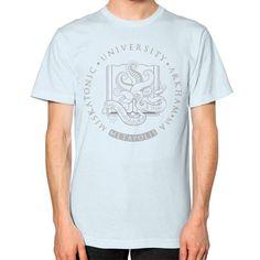 Light Cthulhu in Miskatonic University at Metapolis Unisex T-Shirt (on man)