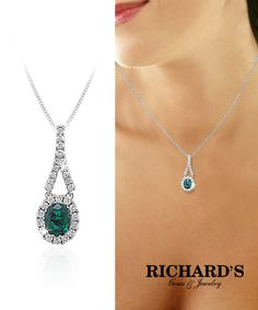 Oval Emerald and Diamond Pendant in 18k White Gold