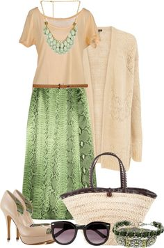 """Beige and green"" by snowshoekittens ❤ liked on Polyvore"