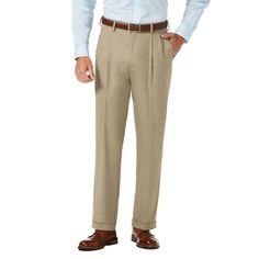 Men's J.M. Haggar Premium Classic-Fit Stretch Sharkskin Pleated Dress Pants, Size: 36X32, White Oth