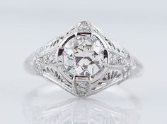 Original Antique Art Deco 1.12cttw Old European Cut Diamond Engagement Ring in Platinum  $7,980.00  Inventory #: 0554  Description:  A superb