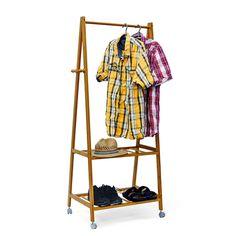 Relaxdays Kleiderständer mit Rollen Bambus 154 x 73,5 x 45 cm Rollgarderobe Garderobenständer Schuhablage: Amazon.de: Küche & Haushalt