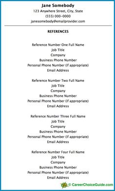 Professional Reference List Template Sample Reference List For Employment  Resume Writing  Pinterest .