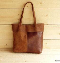 921c1594e26 Bruine leren shopper / handgemaakte leren shopper / leren handtas / stoere  leren tas door SemmsShop