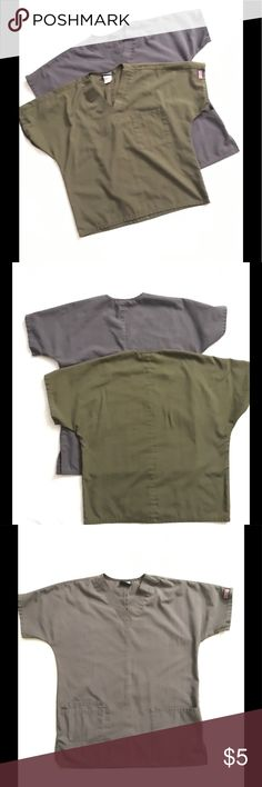 Two Sm Cherokee Scrub Tops Green and Grey Two new and unused scrub tops perfect for work or wear. One has a breast pocket and the other has two front belly pockets for your comfort. Both are a size small made by The Cherokee Workwear company. These are great affordable tops with the perfect comfort for your everyday use. Cherokee Tops Tees - Short Sleeve
