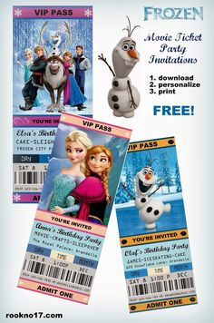 *Rook No. recipes, crafts & whimsies for spreading joy*: Movie Ticket Style FROZEN Party Invitations (Free . Disney Frozen Party, Frozen Birthday Party, 6th Birthday Parties, Birthday Fun, Frozen Movie Party, Birthday Ideas, Lila Party, Festa Party, Party Fun