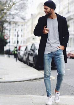 Casual winter street style w/ topcoat, tee and whitewashed denim jeans