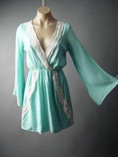 Pastel-Blue-Goddess-Kimono-Sleeve-Crochet-Doily-Faux-Wrap-148-mv-Dress-S-M-L