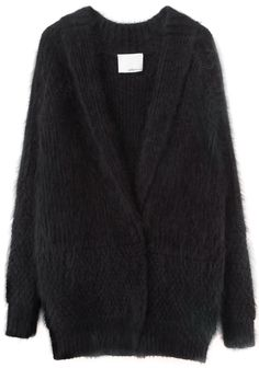 Fuzzy Angora Cardigan by 3.1 Phillip Lim. Oversized cardigan with shawl collar & snap front in a mixed stitch angora knit.
