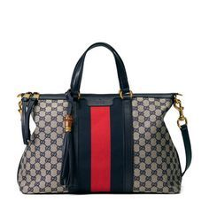 Shop the Rania Original GG top handle bag by Gucci. The Rania top handle bag combines our Web with our Original GG canvas, the shoulder strap is removable and there is extended interior space. Gucci Purses, Burberry Handbags, Prada Handbags, Gucci Bags, Fashion Handbags, Fashion Bags, Leather Handbags, Burberry Tote, Leather Totes