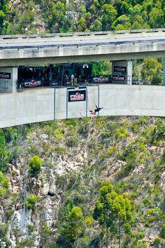 Jumping off Blaukrans bridge -- highest bridge bungie jump in the world, South Africa