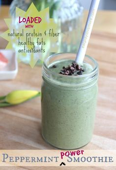Peppermint Power Smoothie ~ 1 cup Almond or Coconut Milk, 1/2 Avocado, 1 cup greens, 3 TBL Maple Syrup or Honey, 1 TBL Camu C Powder, 1/2 TBL Chia Seeds, 1/2 tsp Peppermint Extract