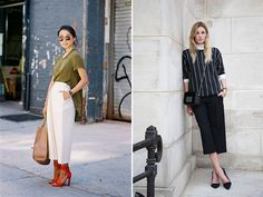 I'm all about a pair of cropped, wide legged culottes - especially when worn with a pair of sexy heels or boyish loafers. My current favorites are Whistle's lightweight silk culottes andTibi's heavier pleated version. Both are dressy yet relaxed. Flattering without trying so hard. So what say