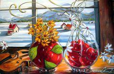 Daniel Vincent, Flower Artwork, Z Arts, Painted Stones, Kitchen Art, Pictures To Paint, Colorful Pictures, Oeuvre D'art, Stone Painting