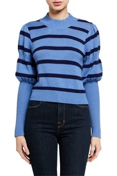 Elanie Striped Puff-Sleeve Sweater by Derek Lam 10 Crosby at Neiman Marcus Tank Shirt, Derek Lam, Striped Knit, Sweater Outfits, Sweater Weather, Clothes For Women, Knit Tops, Sleeves, Sweaters