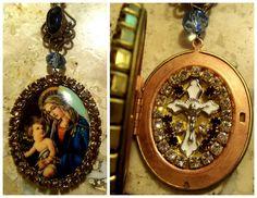 SHRINE LOCKET Madonna and Child Jesus Christ Icon Jewelry Catholic Christian Religious Crucifix Rhinestone Prayer Box Virgin Mother Mary